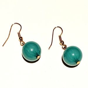 Jade-Colored Translucent Ball Drop Earrings